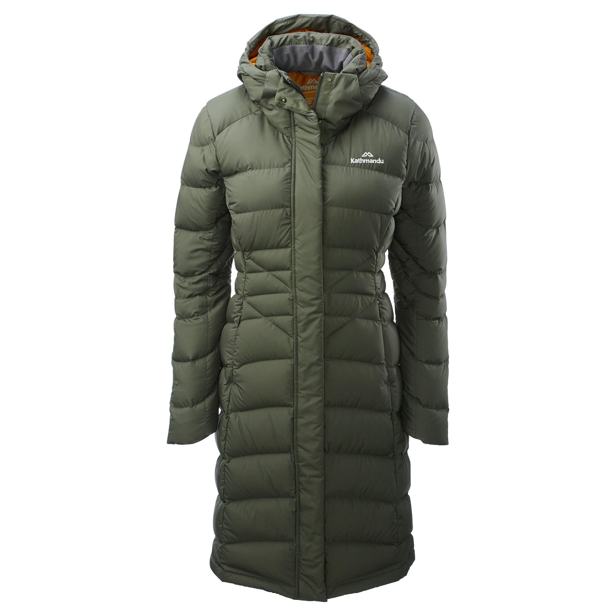 26023299676 Women s Duck Down Longline Jacket - Black Cherry