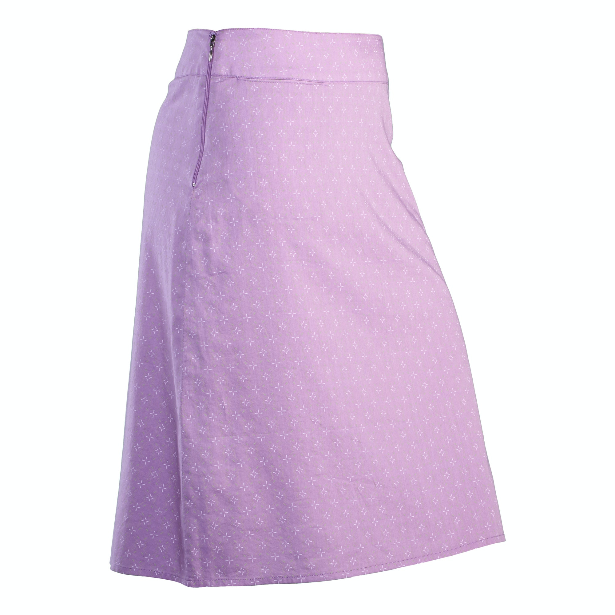 Avignon Women's A-Line Skirt v4 - Lilac Print/Silver Grey