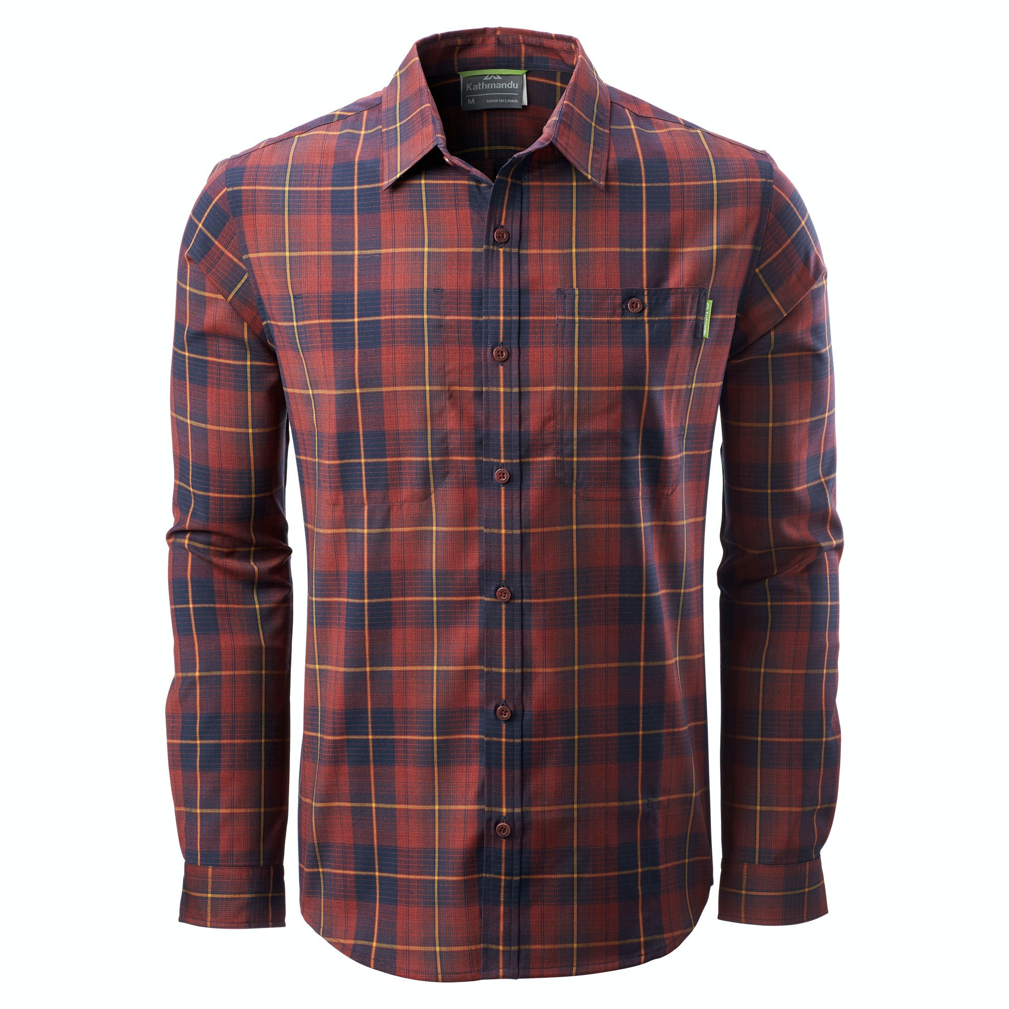 Kathmandu tomar mens slim fit merino full button checked for Merino wool shirts for travel