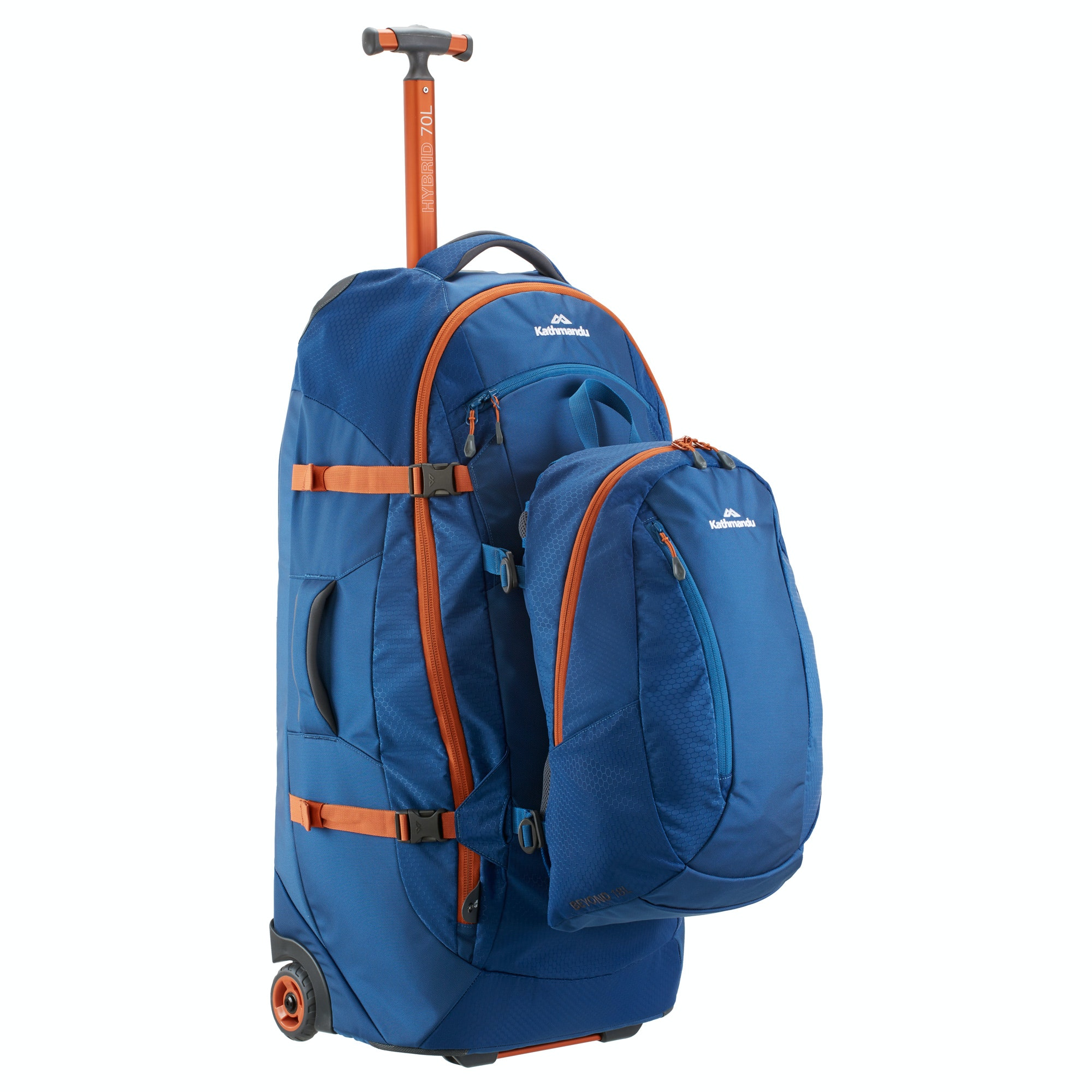 Hybrid 70L Backpack Harness Wheeled Luggage Trolley v3 - Mid Blue