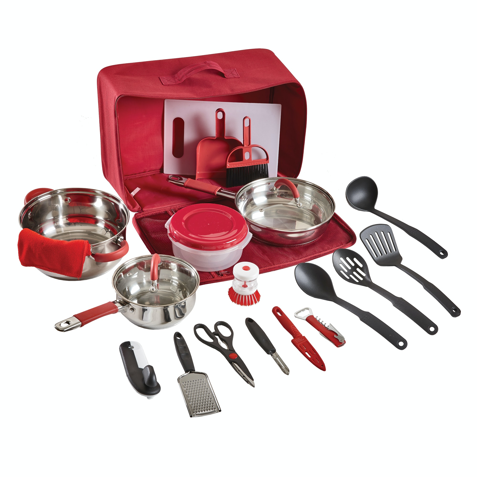 Camp kitchen set 20 piece red for Kitchen kitchen set